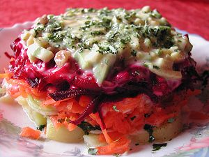 Vegan version of a salad popular in Russia, wi...