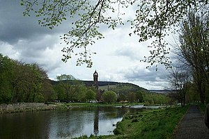 English: The River Tweed at Peebles.