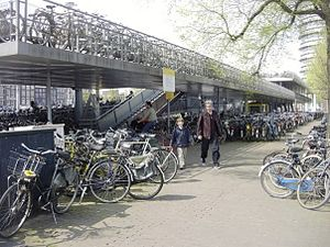 English: A bicycle garage in Amsterdam