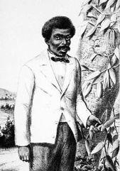 Retrato de Edmond Albius delante de las lianas de la vainilla, aparecido en 1863 en el álbum de la isla de Reunión de Antoine Roussin.