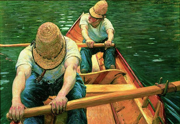 """""""Oarsmen Rowing on the Yerres"""" by Gustave Caillebotte"""