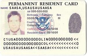 English: Last Version of U.S. Permanent Reside...