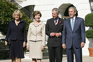 President and Mrs Bush greet TRH The Prince of...