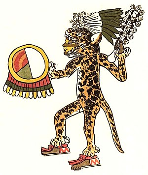 Aztec jaguar warrior, tlahuahuanque of the rit...