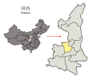 Location of Xianyang Prefecture (yellow) withi...