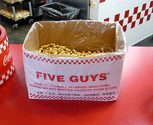 Complimentary peanuts at a Five Guys restauran...