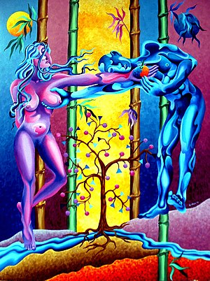 English: Adam & Eve, 2003, 50 X 40 inches oil ...