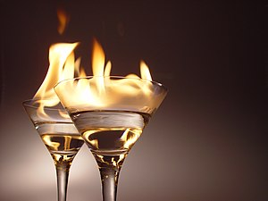 """""""Flaming"""" cocktails contain a small ..."""