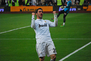 Higuain with Real Madrid celebrating a goal sc...