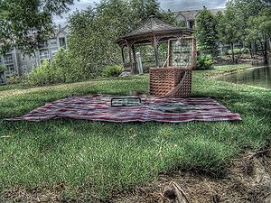 A tone mapped HDR image of a picnic setup on t...