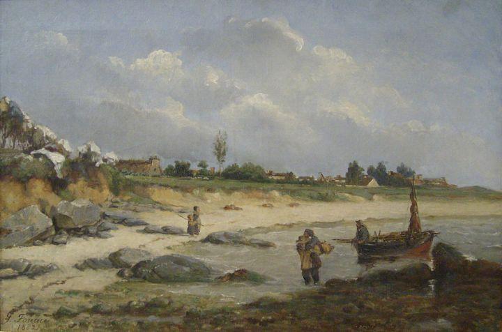 Retour de pêche - Plage de Réville, Fouace