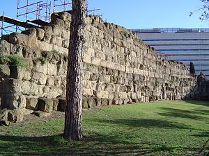 A section of Rome's Servian Wall at Termini ra...