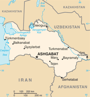 Map showing Turkmenistan with Uzbekistan to th...