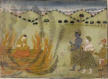"English: ""Painting. Ramayana. Sīta underg..."