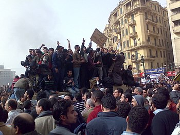 Demonstrators on Army Truck in Tahrir Square, ...