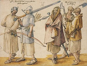 Drawing by Albrecht Dürer of Irish soldiers.