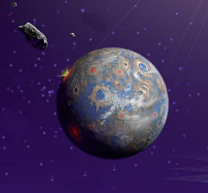 An artist's depiction of an extrasolar, Earthl...