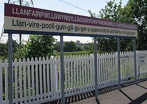 English: The sign at en:Llanfairpwllgwyngyllgo...