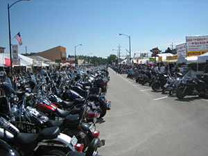 Bikes lined up on Main Street during Bike Week...