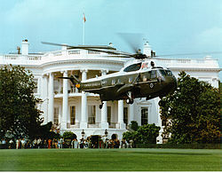 Marine One lifting off of the White House South Lawn