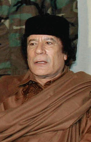 The leader de facto of Libya, Muammar al-Gaddafi.