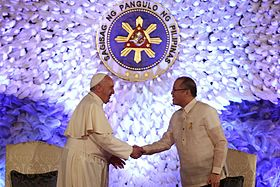 Francis and President Aquino at Malacañan, 16 January 2015