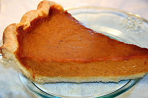English: A slice of homemade Thanksgiving pump...