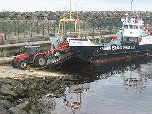 MV Canna, Rathlin Island ferry at Ballycastle,...