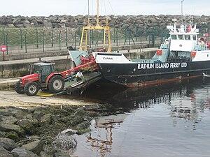 MV Canna, Rathlin Island ferry at Ballycastle,...