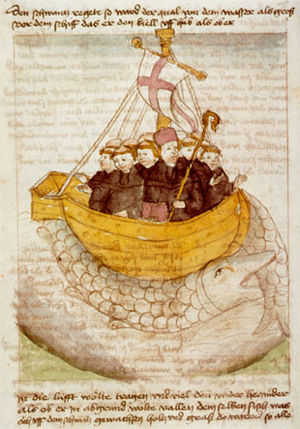 Brendan and his monks' ship is carried by a gi...