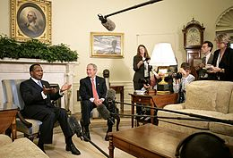 Denis Sassou Nguesso and George W. Bush in the Oval Office in 2006.