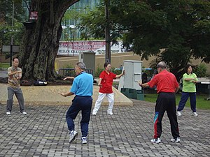 """""""Tai-chi"""" exercises being perfoemed ..."""