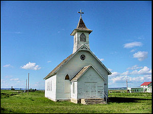 Old church building in Danvers, Montana. The S...