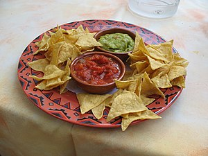 Tortilla chips, salsa, and guacamole from the ...