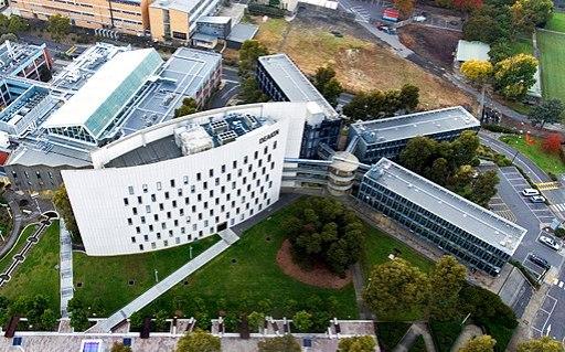 Aerial photo of Deakin University's Building C