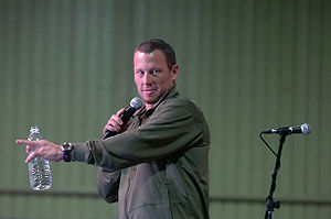 American cyclist Lance Armstrong giving a talk...