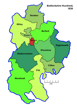 English: The Hundreds of Bedfordshire (plus th...