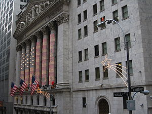 English: Decorations at the New York Stock exc...