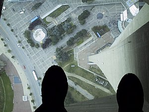 View through the Glass Floor of the CN Tower i...
