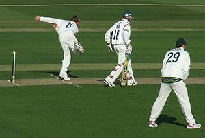 Graeme Swann bowls for Nottinghamshire in a Co...
