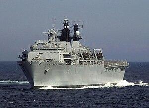 The HMS Bulwark, a Albion class landing platfo...