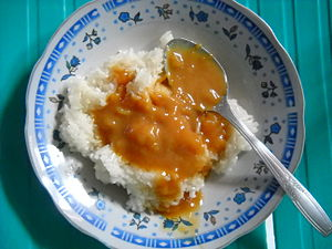 English: Glutinous rice with sweet durian sauc...