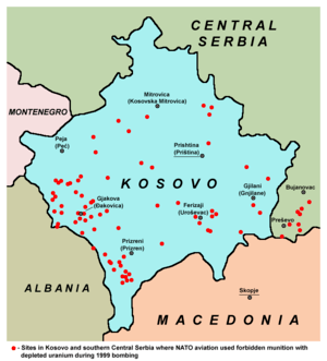 English: Sites in Kosovo and southern Central ...