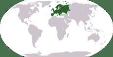 Mapa del mundo, en verde la localización del continente europeo