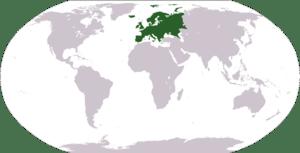 Deutsch: Weltkarte mit Fokus auf Europa Englis...