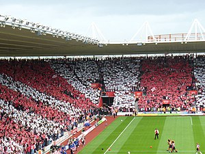 Red and White Stripes at St Mary's Stadium. Fa...