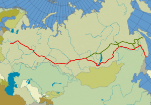 Map of the Trans-Siberian railway Quelle: selb...