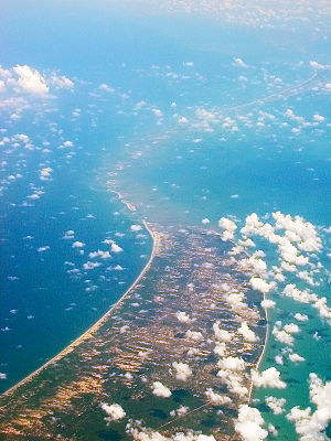 aerial view of the bridge from over mannar island