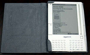 Amazon Kindle with carrying cover, Open.