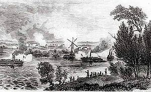 English: View of the Battle of Windmill Point,...